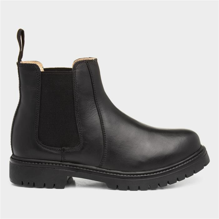Chatterbox Pete Kids Black Leather Chelsea Boot
